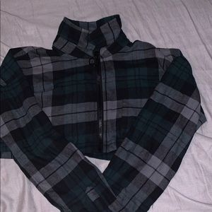 Cropped zip up flannel